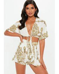 Missguided - Cream Chain Print Tie Waist Floaty Shorts - Lyst
