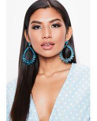 Missguided - Blue Clear Tear Drop Earrings - Lyst