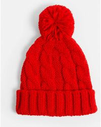 Missguided - Red Cable Knitted Bobble Hat - Lyst