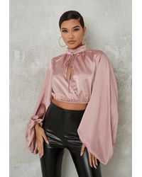 Missguided Blush Satin Wrap Extreme Sleeve Blouse - Pink
