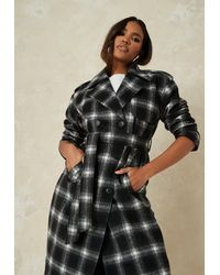 Missguided Brushed Check Formal Trench Coat - Black