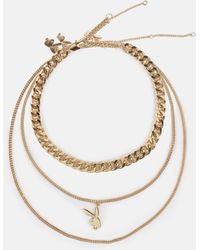 Missguided X Gold Look Multi Chain Necklace - Metallic