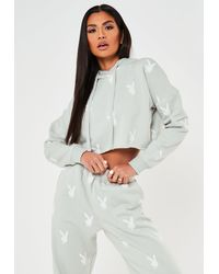 Missguided X Grey Repeat Print Cropped Hoodie