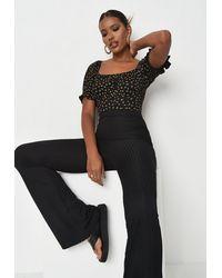 Missguided Floral Print Milkmaid Bodysuit - Black