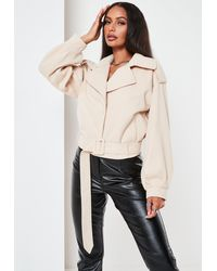 Missguided Beige Brushed Crop Trench Coat - Natural