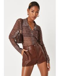 Missguided Chocolate Button Front Faux Leather Shorts - Brown