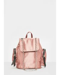 Missguided - Pink Satin Mini Backpack - Lyst