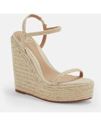 Missguided Beige Two Strap Jute Wedges - Natural
