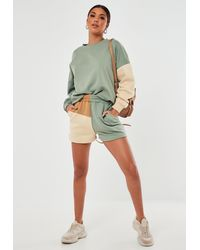 Missguided Green Co Ord Colourblock Jogger Shorts