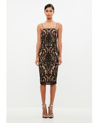 Missguided - Peace + Love Black Baroque Placed Lace Midi Dress - Lyst