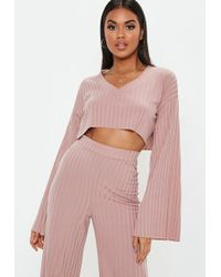 f845265a3ad5e7 Missguided - Rose Matte Flare Sleeve Crop Top - Lyst