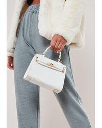Missguided White Croc Effect Mini Handbag