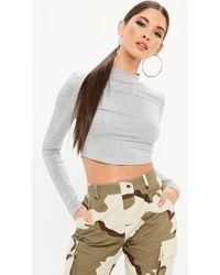 Missguided - Gray High Neck Long Sleeve Cropped Top - Lyst