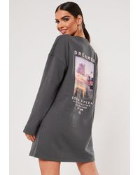 Missguided Sxf X Grey Dreamer Oversized Graphic Sweatshirt - Gray