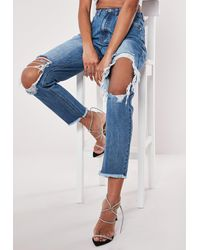 Missguided Blue High Rise Open Ripped Knee Mom Jeans