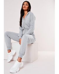 Missguided Grey Hooded Zip Up Jumpsuit