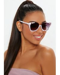 3a867caa91 Missguided Blue Heart Frameless Sunglasses in Blue - Lyst