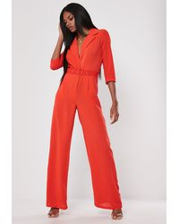 Missguided Red Wide Leg Belted Wrap Romper