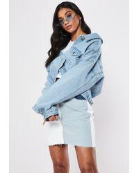 Missguided Blue Light Wash Drop Hem Oversized Denim Jacket