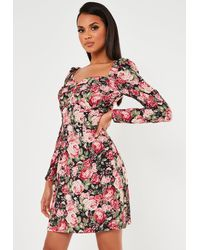 Missguided Pink Floral Print Sweetheart Neck Shift Dress