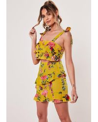 Missguided Yellow Floral Frill Crop Top And Skirt Co Ord Set