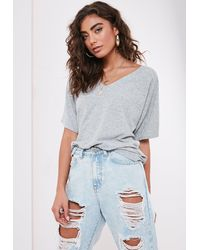 Missguided Petite Grey Rib V Neck Oversized Boyfriend T Shirt - Gray