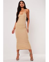 Missguided Nude Ribbed Strappy Bodycon Midi Dress - Natural