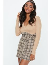 Missguided - Brown Heritage Stripe Paperbag Mini Skirt - Lyst