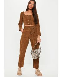 Missguided Chocolate Cord Tie Waist Co Ord Pants - Brown