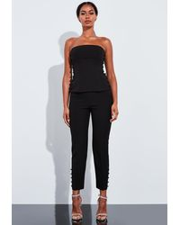Missguided Co Ord Button Detail Bustier Top - Black