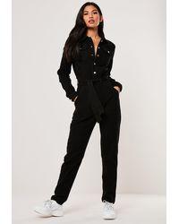 Missguided Black Boiler Button Through Denim Jumpsuit
