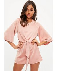 e311ee121e65 Missguided - Pink Tie Front Kimono Sleeve Playsuit - Lyst