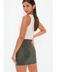 Missguided - Khaki Faux Suede Mini Skirt - Lyst