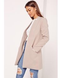 Missguided - Tailored Inverted Collar Coat Nude - Lyst