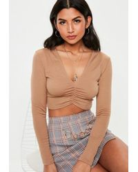 bee272b22a Missguided Camel Ribbed Strapless Top in Natural - Lyst