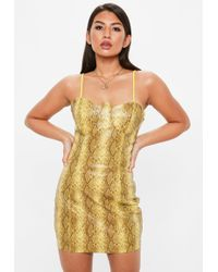 Missguided - Yellow Faux Leather Snake Print Bodycon Dress - Lyst