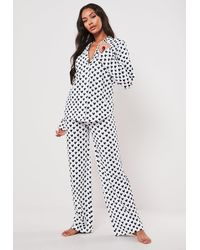 Missguided White Heart Print Long Sleeve Pyjama Set