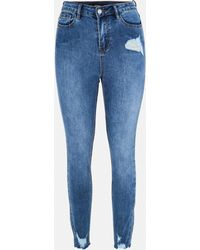 Missguided Sinner Skinny-Jeans im Distressed-Look - Blau