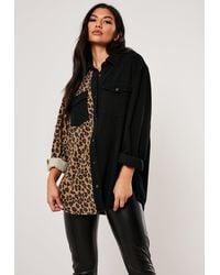 Missguided Black Super Oversized Leopard Print Panel Shirt
