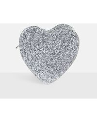 Missguided Silver Glitter Heart Clutch Bag - Metallic