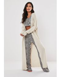 Missguided Tall Ivory Animal Print Pyjama Trousers And Crop Top Set - White