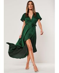 Missguided Green Satin High Low Wrap Midi Dress