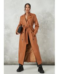Missguided Tan Faux Leather Belted Trench Coat - Brown