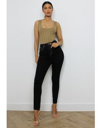 Missguided - Contrast Stitch Skinny Jeans - Lyst