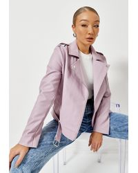 Missguided Faux Leather Fitted Biker Jacket - Purple