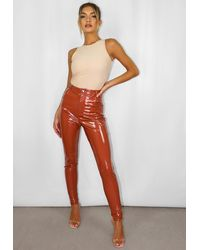 Missguided Tan Vinyl Trousers - Red