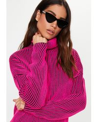 Missguided Pink Ribbed Roll Neck Knitted Jumper