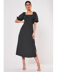 Missguided Polka Dot Milkmaid Shirred Bust Midi Dress - Black