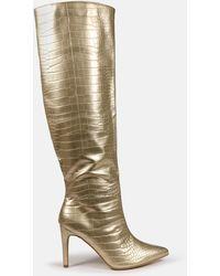 Missguided Mid Heel Knee High Boots - Metallic