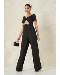 Missguided Black Cut Out Belted Wide Leg Playsuit